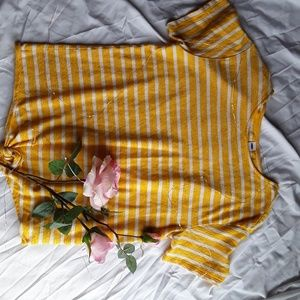 Old Navy Striped Yellow Tie Blouse
